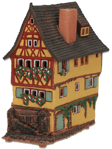 Ceramic Tealight Candle Holder   Room Decoration   Collectible miniature of House Plönlein, Rothenburg o.d. T., Bavaria, Germany   A231AR © Midene