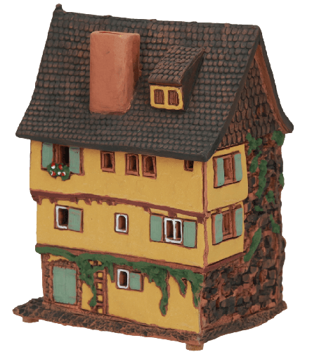 Ceramic Tealight Candle Holder | Room Decoration | Collectible miniature of House Plönlein, Rothenburg o.d. T., Bavaria, Germany | A231AR © Midene