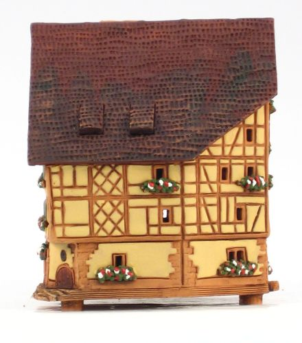 Ceramic Tealight Candle Holder | Room Decoration | Collectible miniature of House in Riquewihr | Haut-Rhin | France | B274AR © Midene