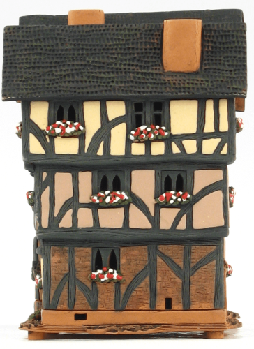 Ceramic Tealight Candle Holder   Room Decoration   Collectible miniature of New Inn Street Houses in Oxford, GB   B280Set © Midene