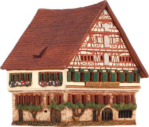 Ceramic Tealight Candle Holder | Room Decoration | Collectible miniature of Kielmayer house | Esslingen | Germany | B286AR* © Midene