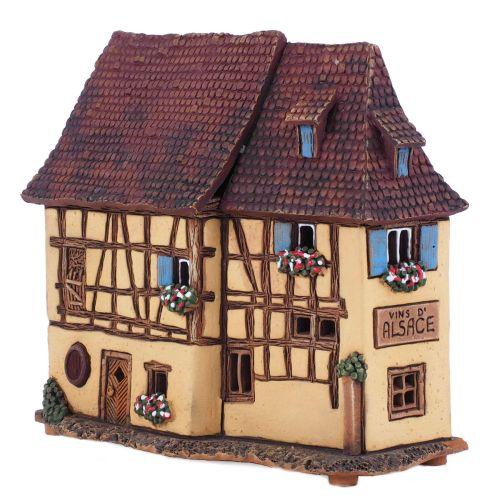 Ceramic Tea Light House Candle Holder. House in France B319AR