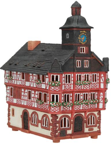 Ceramic Tealight Candle Holder   Room Decoration   Collectible miniature of Town Hall in Heppenheim, Germany   C253AR* © Midene