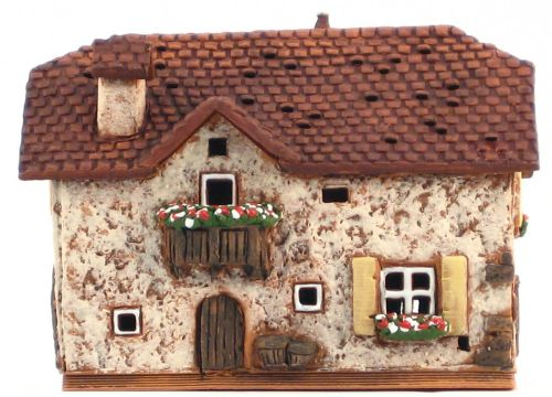 Ceramic Tealight Candle Holder | Room Decoration | Collectible miniature of Old House in South Tirol, Italy | C248AR © Midene