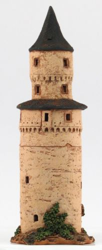 Ceramic Tealight Candle Holder | Room Decoration | Collectible miniature of Witches Tower in Idstein, germany | C259N © Midene