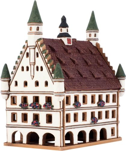 Ceramic Tealight Candle Holder | Room Decoration | Collectible miniature of Old Towm Hall in Biberach, Germany | C275N* © Midene