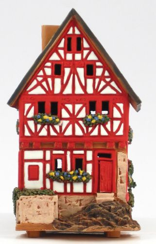 Ceramic Tealight Candle Holder | Room Decoration | Collectible miniature of Old Fachwerhouse in Limburg, Germany | C281AR* © Midene