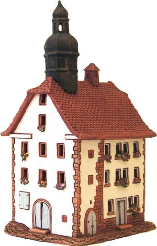 Ceramic Tealight Candle Holder | Room Decoration | Collectible miniature of Old Town Hall in Schlitz, Germany | C286N* © Midene