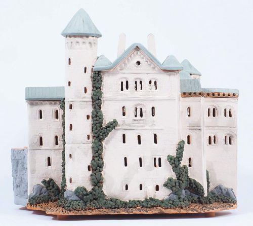 Ceramic Tealight Candle Holder | Room Decoration | Collectible miniature of Neuschwanstein castle southwest Bavaria Germany | F228N* Set © Midene