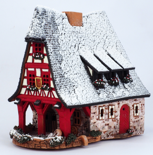 Ceramic Tealight Candle Holder | Room Decoration | Collectible miniature of Old Smithery in Rothenburg, Germany | D224AR* © Midene