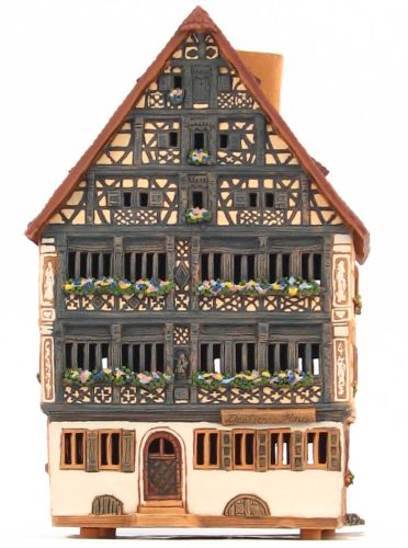 Ceramic Tealight Candle Holder | Room Decoration | Collectible miniature of Hotel Deutsches Haus, Dinkelsbühl, Bavaria, Germany | D235AR* © Midene