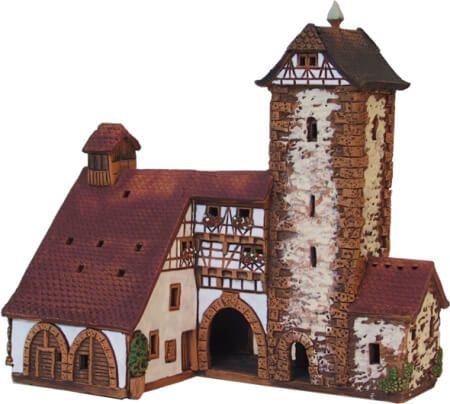 Ceramic Tealight Candle Holder | Room Decoration | Collectible miniature of Zell Town Hall Germany | D249N* © Midene
