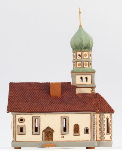 Ceramic Tealight Candle Holder | Room Decoration | Collectible miniature of St. Georg church, Wasserburg, Germany | D264AR* © Midene