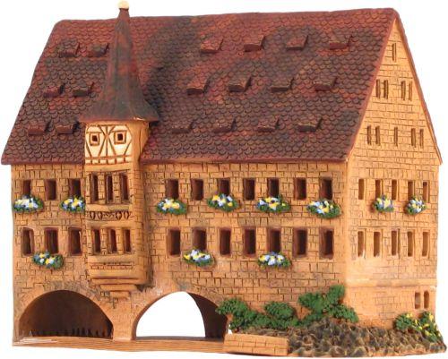 Ceramic Tealight Candle Holder | Room Decoration | Collectible miniature of Holy Spirit hospital, Nürnberg, Germany | D267AR © Midene