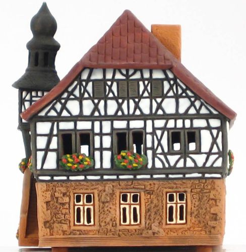 Ceramic Tealight Candle Holder | Room Decoration | Collectible miniature of Bad Neustadt Town Hall, Germany | D285AR* © Midene