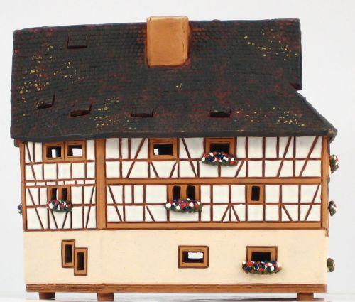 Ceramic Tealight Candle Holder   Room Decoration   Collectible miniature of Maison des Tanneurs, Strasbourg, Alsace   D287AR* © Midene