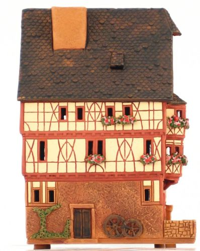 Ceramic Tealight Candle Holder | Room Decoration | Collectible miniature of Miltenberg House, Germany | D294AR* © Midene
