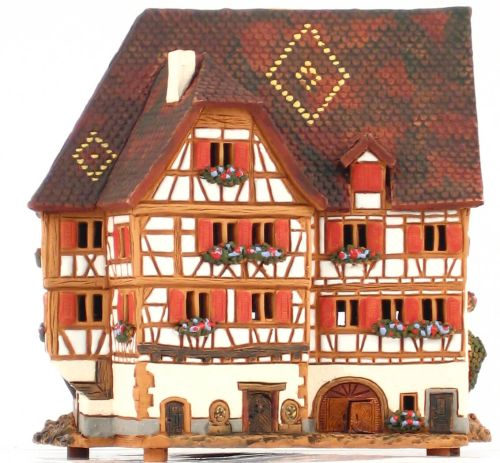 Ceramic Tealight Candle Holder | Room Decoration | Collectible miniature of Hotel Schnogaloch, Obernai, Alsace | D314AR* © Midene