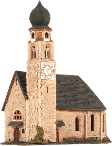 Ceramic Tealight Candle Holder | Room Decoration | Collectible miniature of San Constantino church, South Tyrol, Italy | D333N* © Midene