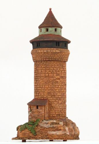 Ceramic Tealight Candle Holder | Room Decoration | Collectible miniature of Sinwell tower, Nürnberg, Germany | D349N © Midene