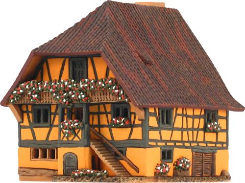 Ceramic Tealight Candle Holder | Room Decoration | Collectible miniature of Half timbered house, Kaysersberg, France | D370AR* © Midene