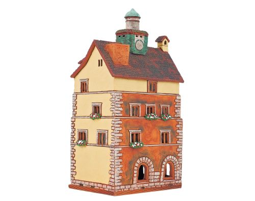 Ceramic Tealight Candle Holder | Room Decoration | Collectible miniature of Hotel Barbarossa, Constance, Germany | D393AR* © Midene