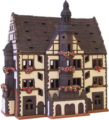 Ceramic Tealight Candle Holder | Room Decoration | Collectible miniature of Schweinfurt town hall Germany | E207N* © Midene