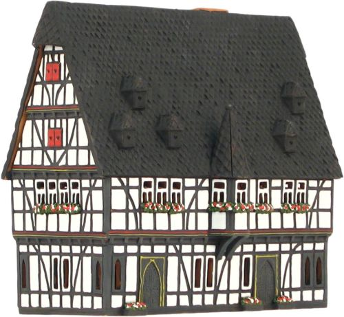 Ceramic Tealight Candle Holder   Room Decoration   Collectible miniature of Schotten town hall Germany   E21AR* © Midene