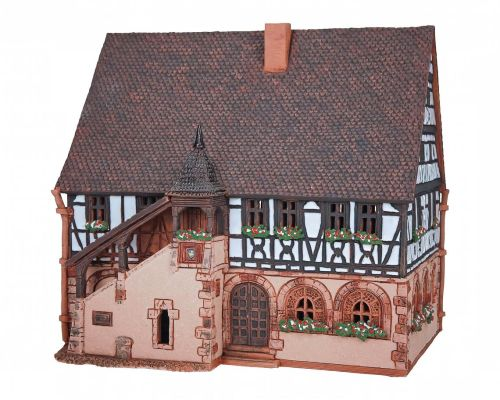 Ceramic Tealight Candle Holder | Room Decoration | Collectible miniature of Town hall in Schifferstadt, Germany | E213AR* © Midene