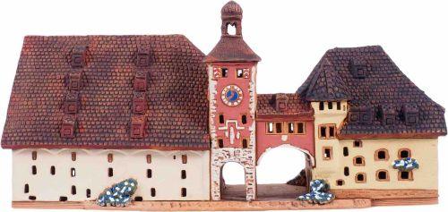 Ceramic Tealight Candle Holder | Room Decoration | Collectible miniature of Bridge gate in Regensburg Germany | E244AR* © Midene