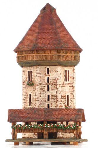 Ceramic Tealight Candle Holder | Room Decoration | Collectible miniature of Kapellbrücke (Chapel Bridge) Lucerne Switzerland | E248Set © Midene