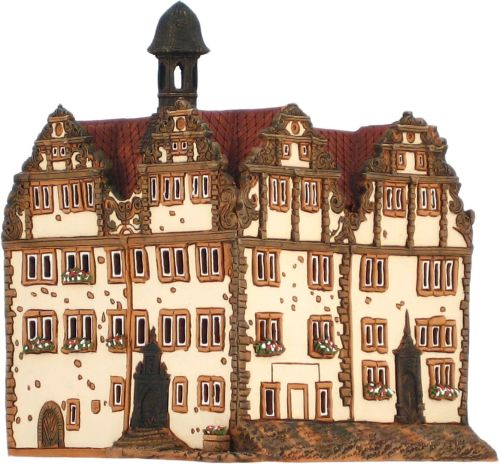 Ceramic Tealight Candle Holder | Room Decoration | Collectible miniature of Bad Hersfeld town hall Germany | F216AR* © Midene