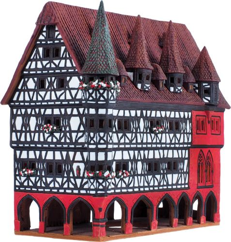 Ceramic Tealight Candle Holder | Room Decoration | Collectible miniature of Fulda town hall Germany | F217AR* © Midene