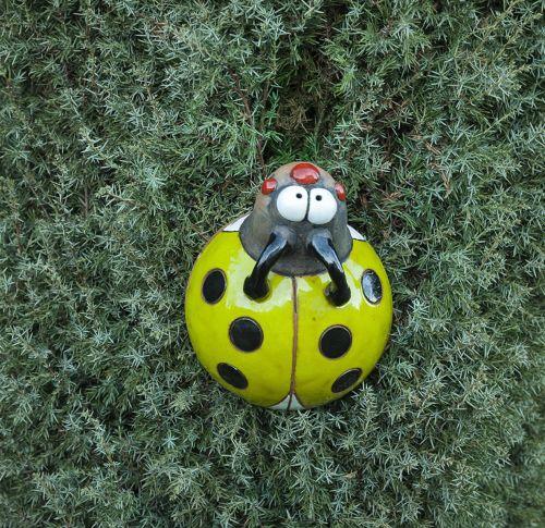 Garden stake Decoration Ladybug Handmade Ceramic Midene-green