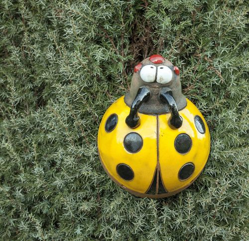 Garden stake Decoration Ladybug Handmade Ceramic Midene-yellow