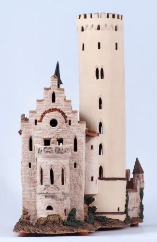 Ceramic Tealight Candle Holder | Room Decoration | Collectible miniature of Lichtenstein Castle | E210N* © Midene