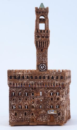 Ceramic Tealight Candle Holder | Room Decoration | Collectible miniature of Palazzo Vecchio in Florence, Italy | D389N* © Midene