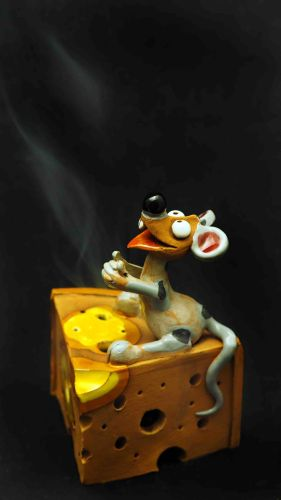 Mouse with Cheese Incense Holder | Figurine | Home Decor | RF109 © Midene
