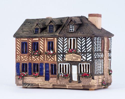 house tea light holder Cafe du Coiffeur in France, 13 cm  B349AR