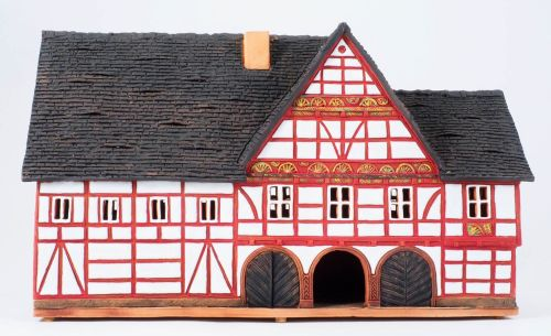 Ceramic Tealight Candle Holder   Room Decoration   Collectible miniature of Schwalenberg town hall Germany   F206N* © Midene
