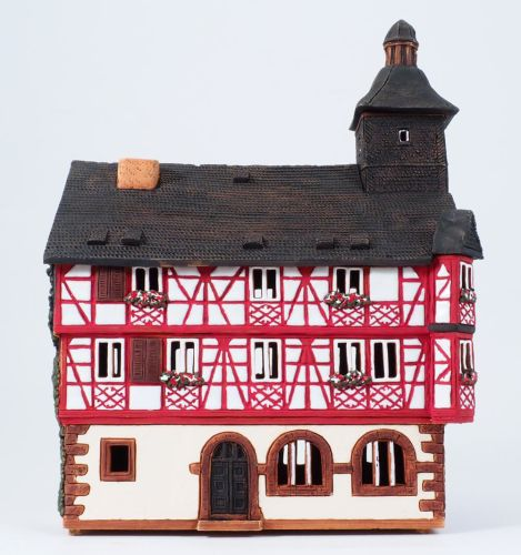 Ceramic Tealight Candle Holder | Room Decoration | Collectible miniature of Heppenheim town hall Germany | E224AR* © Midene