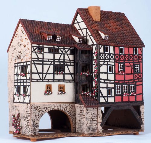 Ceramic Tealight Candle Holder | Room Decoration | Collectible miniature of Merchants' bridge Erfurt Thuringia Germany | F247AR* © Midene