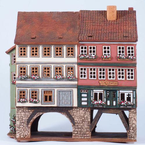 Ceramic Tealight Candle Holder | Room Decoration | Collectible miniature of Merchants' bridge Erfurt Thuringia Germany | F246AR* © Midene