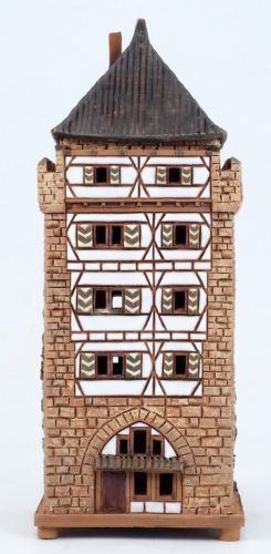 Ceramic Tealight Candle Holder   Room Decoration   Collectible miniature of Schelztor-Tower in Esslingen, Germany   C292N* © Midene
