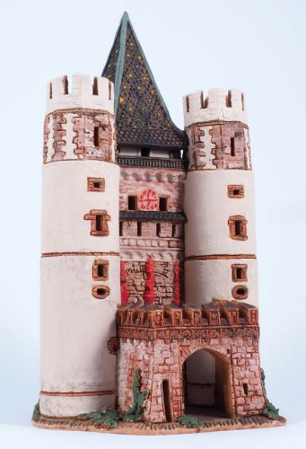 Ceramic Tealight Candle Holder | Room Decoration | Collectible miniature of Spalen Tor / gate, Basel, Switzerland | D379N* © Midene