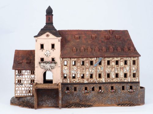 Ceramic Tealight Candle Holder | Room Decoration | Collectible miniature of Bamberg town hall Germany | F233AR* © Midene