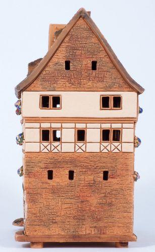 Ceramic house tea light holder Krämerbrücke in Erfurt, Germany, 18cm, © Midene S9-4