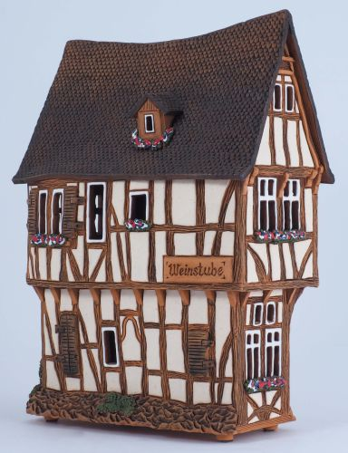 Ceramic Tealight Candle Holder | Room Decoration | Collectible miniature of House from Bernkastel-Kues Germany | E223AR* © Midene