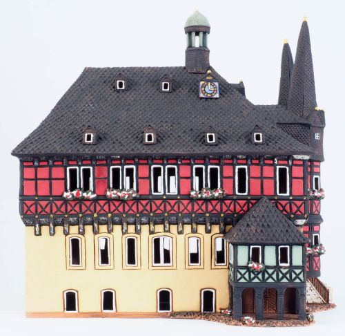 Ceramic Tealight Candle Holder | Room Decoration | Collectible miniature of Town Hall in Wernigerode Germany | F231N* © Midene