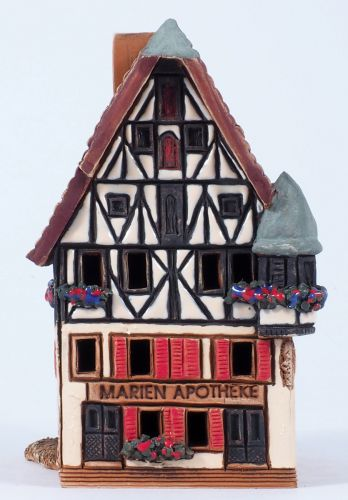 Ceramic house incense burner Marienapotheke in Rothenburg, 10 cm R278